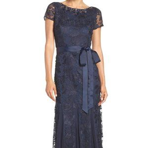 Adrianna Papell Jewel Embellished Lace Gown Dress